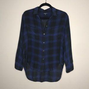 Madewell Silk Spotlight Shirt in plaid sz Small
